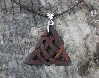 Hand Carved Celtic Heart Necklace, Traditional Irish Love Knot Pendant, Unique Rosewood Eternal Love Gift, Celtic Sister Knot Pendant