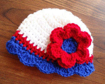 Crocheted Baby Girl Fourth of July Hat - Red, White & Blue Baby Hat with Ruffled Edge, Baby Shower Gift, Sizes Newborn to 5T - MADE TO ORDER