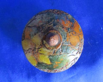 Hand-carved Wooden Trinket Pot Decorated in Painted Flowers