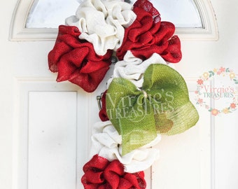 Candy Cane Burlap Wreath, Christmas Wreath, Holiday Wreath, Burlap Wreath, Candy Cane Door Decor, Peppermint