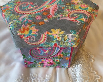Bright Paisley Fabric Covered Etui Sewing Box