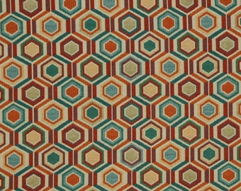 Teal Orange Upholstery Fabric for Furniture - Upholstered Chair Sofa Fabric by the Yard - Custom Pillows in Many Sizes are Available