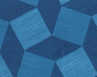 "Tumbling Blocks Blue 108"" Wide Quilt Back Michael Miller Fabric 1 yard"