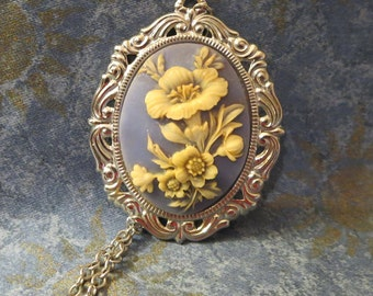 Vintage Blue Flower Cameo Necklace