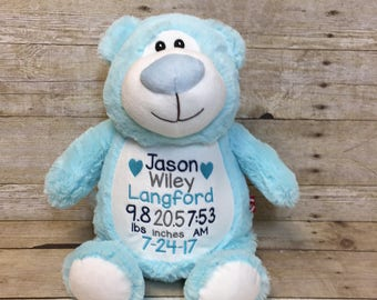 Etsy your place to buy and sell all things handmade birth stat stuffed animal personalized baby gift personalized bear embroidered bear custom negle Images