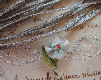 "1y Rare Vintage German Petite Tiny 3/16"" Silver Metal Thread Mesh Spreadable Metallic Ribbonwork Art Flower Base Ribbon Lace Trim Applique"