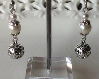 White Pearls Silver Dangle Earrings Swarovski Glass Pearls Filigree Beaded Brides Handmade Jewelry Sets