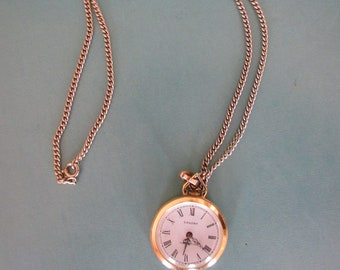 Vintage Saxony Pendant Watch Stem Wind Art Deco Works Well Free Shipping