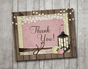 Thank You Card For Wedding Rustic Lantern Wood Pink Hydrangea Fairy Lights Lace Vintage Printable Instant Download
