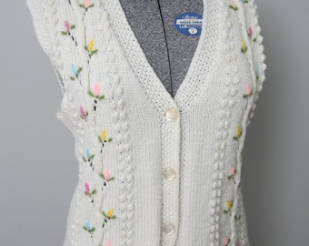 Vintage Flower Pattern Multicolor Sweater Vest