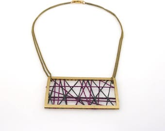 embroidery thread woven geometric brass necklace