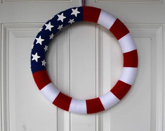 USA Wreath, Patriotic, Yarn Wreath, Red White and Blue, Stars and Strips