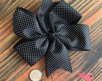 Big Pinwheel Hair Bow w/ Tiny Polka Dots