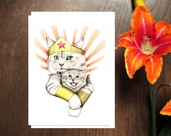 Super Cat Mom Card, Mom Loves Cats, Mother's Day Cat Card, Cat Lady Mom, Mom Cat and Kitten, Wonder Woman Cat Card, Super Mom Cat