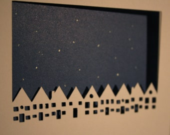 Paper Cut Card White, Colour, Silhouette, Little houses