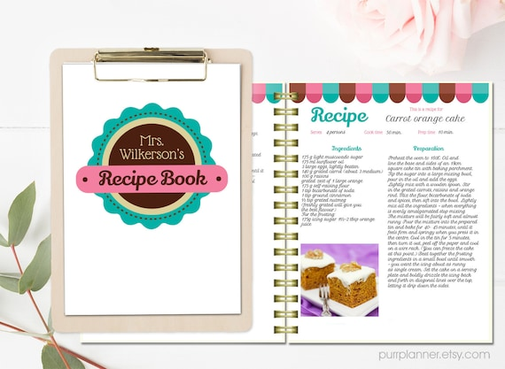 Book Cover Template Docx : Personalized recipe book template editable pages