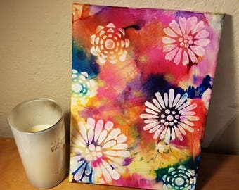 Boho hippie flower painting