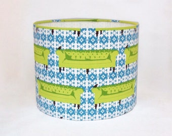 Green and Blue Sofa Print Drum Lampshade/ Table Lamp (Fitting at the Bottom) (Medium)