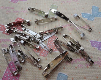 100 PCS 30mmX5mm silver metal bar pin back brooch Create Your Own Hair Accessories