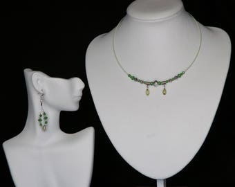 Green Swarovski Teardrop Choker Necklace and Loop Earring Set