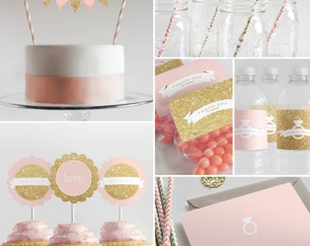 Bridal Shower Decorations  // Printable // Pink & Gold Collection