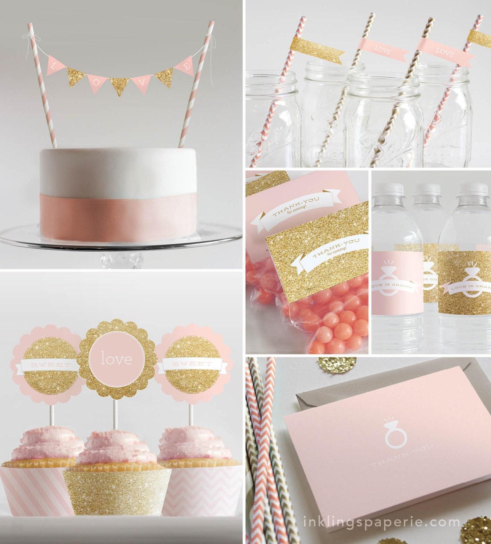 Bridal Shower Decorations // Printable // Pink & Gold