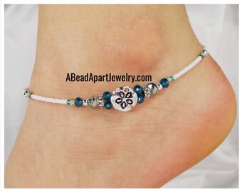 Anklet Ankle Bracelet, Sand Dollar Sea Shell Charm, Light Aqua Blue, Sea Green Beaded Anklet, Customizable, Beach Anklet, Vacation Jewelry