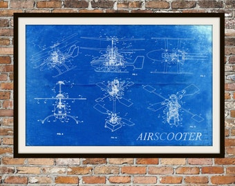 Blueprint Art of Helicopter Ultralight Scooter, Technical Drawings Engineering Drawings Patent Blue Print Art Item 0055