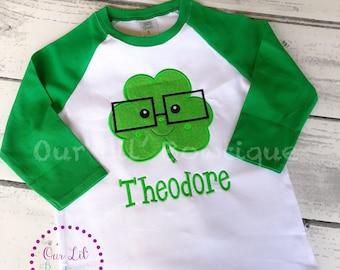 St. Patrick's Day Shirt - Personalized Shamrock Shirt - Boys Shamrock Shirt - Glasses - Clover - Shamrock Raglan - Boys St. Patricks Day