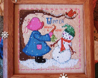 INSTANT DOWNLOAD Winter Needs a Nose Sweet Sunbonnet Seasons PDF cross stitch patterns by Calico Confectionery at thecottageneedle.com