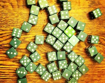 Set of Vintage Green Dice