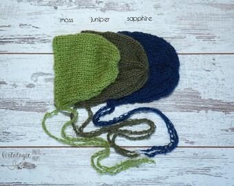 Newborn Mohair Bonnet * Photo Prop * Moss * Juniper* Sapphire Blue *