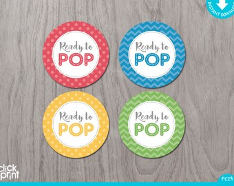 Ready to Pop Tags, Ready to Pop Printable Stickers, Ready to Pop Labels, Ready to Pop Baby Shower Decor, Print Yourself Baby Shower