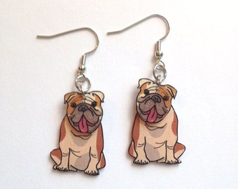 English Bulldog 3D Earrings Handcrafted in USA Gifts for Her bdog18a