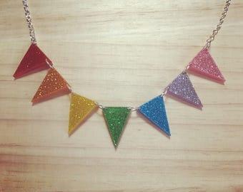 Handmade Small Glitter Rainbow Bunting Necklace