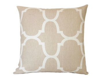 Kravet Riad Tan Sand Geometric Pillow Cover