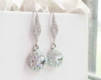 Light Blue Crystal Earrings, Light Azore Swarovski Crystal Dangle Earrings, Sterling Silver CZ Mint Blue Bridal Bridesmaid Earrings