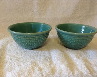 TWO Antique Tiny Mixing Bowls /Berry Bowls Robin Egg Blue Basketweave Yellow Ware