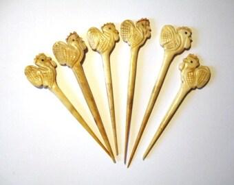 Vintage Carved Bone CockTail Sticks Depicting Cockerels