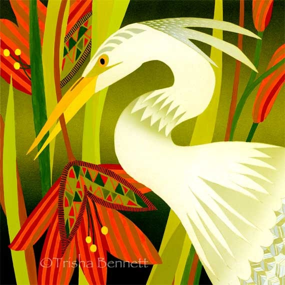 Tropical Bird in Garden Art Print Fantasy Flowers and Bird
