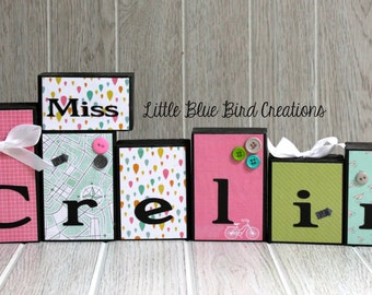 Teachers Name Wooden Block Set - Custom Teacher gift - Classroom decor - personalized - end of the year gift