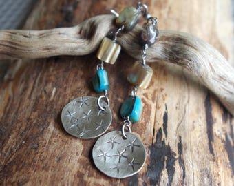 Starfish earrings - Mother of pearl and Sterling Silver earrings - Boho ocean earrings