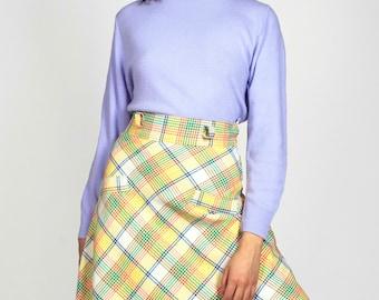 Vintage High Waisted Plaid Skirt A-Line Full Flare Knee Length Short Midi Woven Glen Multi Color Spring Size Small