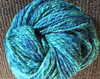 Northern Lights - Hand Spun Yarn - Hand Painted - Bulky Weight-190 yds