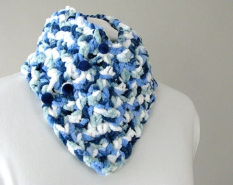 Unisex Adult Blue Tweed Fleece Button Chunky City Scarf - Thick Knits