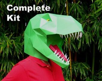 Dinosaur Mask - T-Rex Kit - Build a Tyrannosaurus! | Paper Mask | DIY Mask | Halloween Mask | Dinosaur Costume | Gifts for Crafty