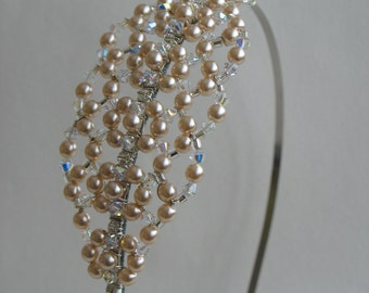 Pearl crystal hairband. Wedding tiara headband headpiece.