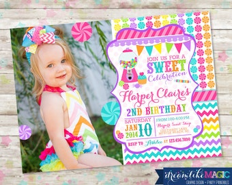 Candyland, Sweet Celebration, Birthday Invitation with Photo, Candy Invite with Gumball Chevron Pink Printable DIY, Photo Card