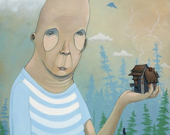 HOMESICK, pop surrealism, surreal, lowbrow, contemporary art, art, juxtapoz, house, home, funky, hip, weird, colorful, mixed media, modern