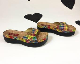 90s Esprit Bright Gingham Platform Sandals / Bow / Cork  / Size 6.5 / Madras / Plaid / Flatform / Minimal / y2k / Bubble / Grunge / Delias